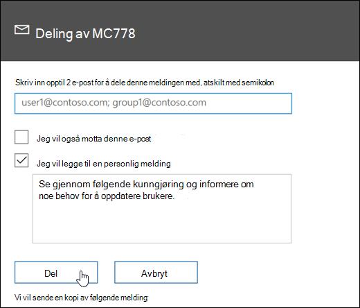 Et skjermbilde av meldingen deling av skjermen