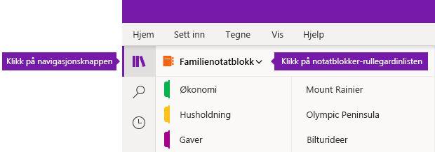 Utvide notatblokklisten i OneNote for Windows 10