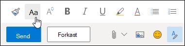 Skjermbilde av Skriftstørrelse-alternativet på verktøylinjen for formatering.