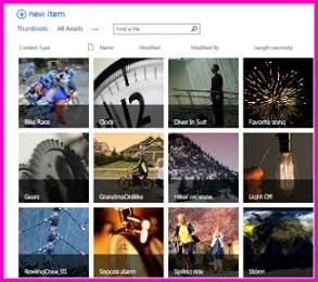 Skjermbilde av et aktivabibliotek i SharePoint. Det viser miniatyrbilder av flere videoer og bilder som biblioteket inneholder. Det viser også kolonnene for standard metadata for medieaktiva.