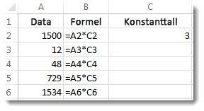 Data i kolonne A, formler i kolonne B og tallet 3 i celle C2