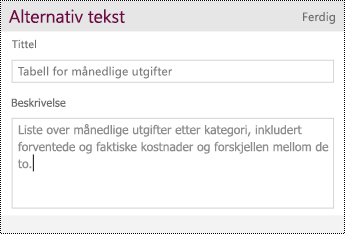Legge til alternativ tekst for en tabell.