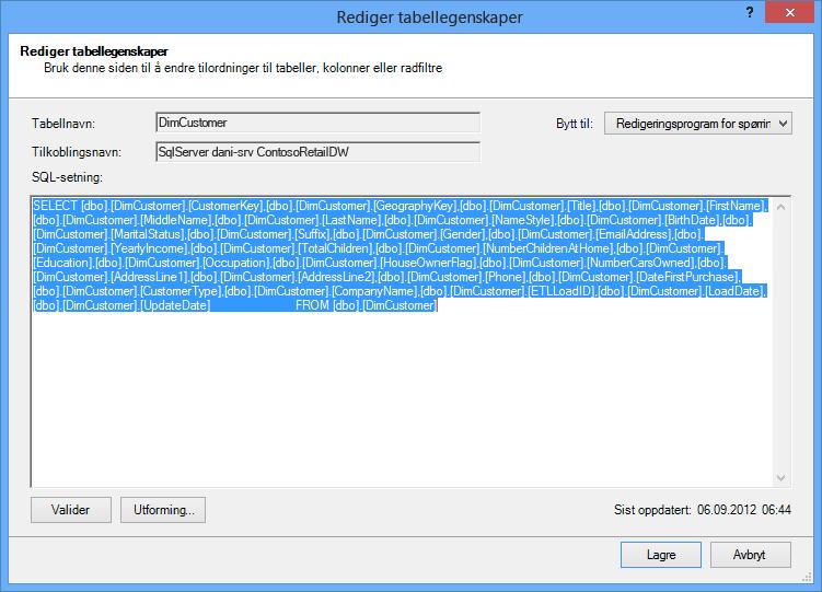 SQL-spørring som brukes til å hente data