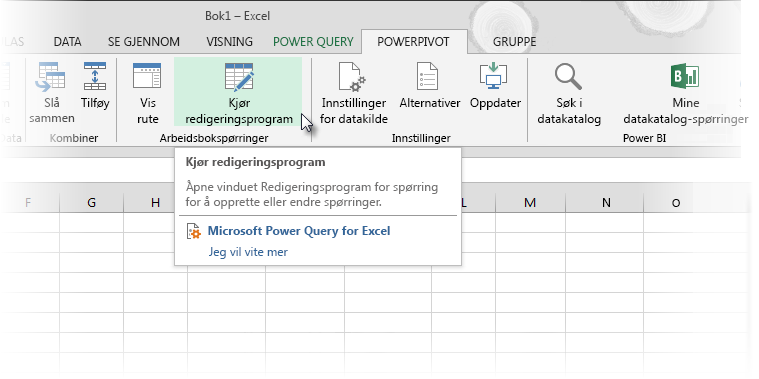 Start redigeringsprogram for Power Query