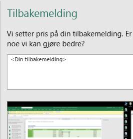 Dialogboksen Tilbakemelding i Excel