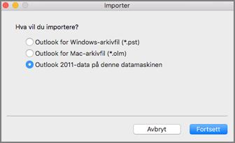 Importskjermen med Outlook 2011-data på denne datamaskinen valgt