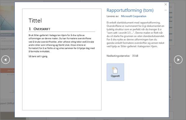 Viser en forhåndsvisning av utformingsmalen for Rapport i Word 2016.