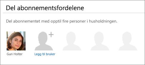 Skjermbilde av «Dele abonnementsfordelene»-delen av del Office 365-siden som viser «Legg til bruker»-koblingen.