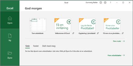 Excel opprette en arbeidsbok