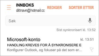 Åpne e-postmeldingen med «Handling kreves»
