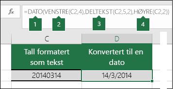 Konvertere tekststrenger og tall til datoer