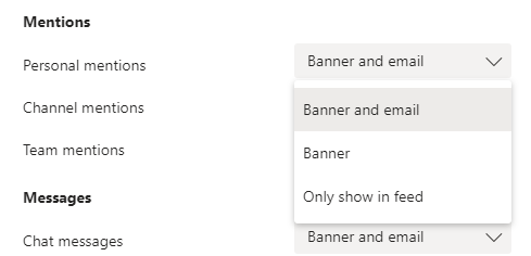 Bruke rullegardinmenyer for å slå på, av eller endre varsling typene du vil bruke i Microsoft Teams