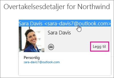 Skjermbilde av en del av en e-postmelding på siden Outlook E-post. Avsenderen av meldingen er uthevet, og kontaktkortet til den mottakeren vises. Det er en boble for Legg til-kommandoen på kontaktkortet.