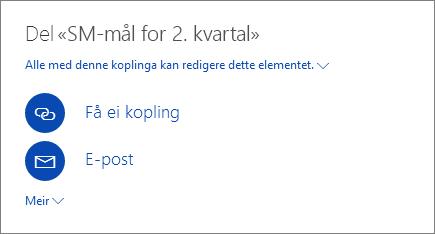 Skjermbildet viser hvordan du deler en fil i OneDrive