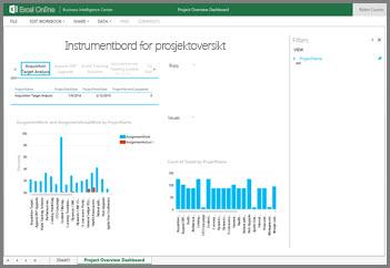 Instrumentbord for prosjektoversikt-arbeidsboken gir aktivitetsinformasjon på høyt nivå for prosjektene