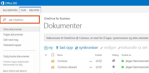 Skjermbilde av OneDrive-spørringsboks i Office 365.