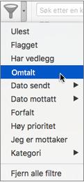Bruke Omtalt i Filtrer e-post-menyen for å søke etter e-postmeldinger der du @omtales