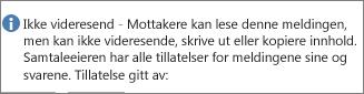 Meldingen Ikke videresend lagt til i e-postmeldingen.