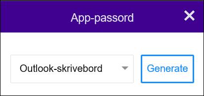Velg Outlook på skrivebordet, og velg deretter Generer.