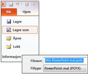 Lagre presentasjonen som en POTX-fil