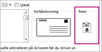 Matediagrammet viser hvordan du setter konvolutten inn i skriveren