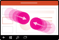 Bevegelse for å zoome ut i PowerPoint for Windows Mobile