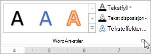 Velge dialogboksvelgeren WordArt-stiler