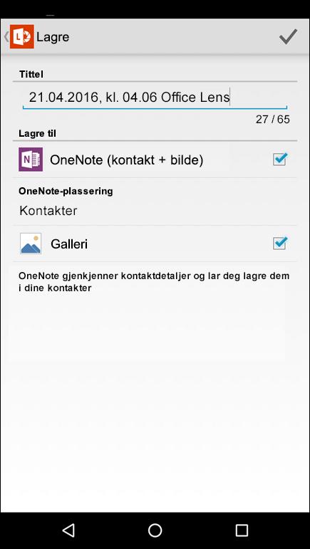 Skjermbilde av funksjonen for å eksportere til kontakter i Office Lens for Android.