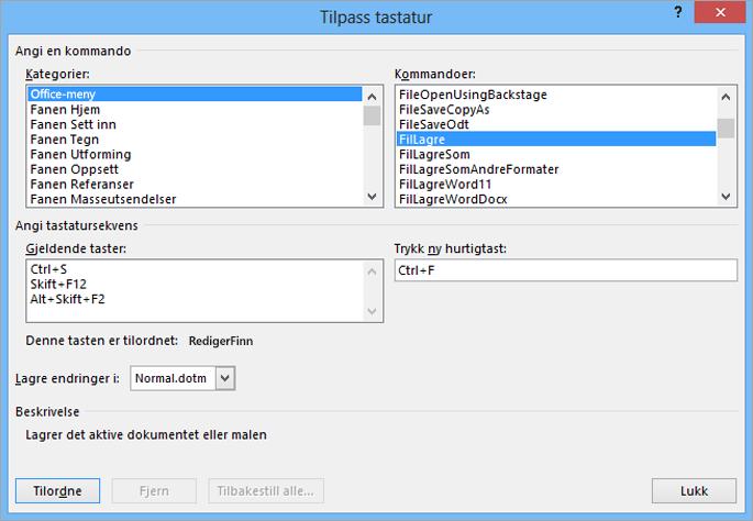 Opprette en ny hurtigtast i Tilpass tastatur-dialogboksen