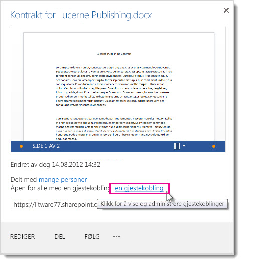 Dialogboksen Egenskaper viser at et dokument er delt med en gjestekobling.