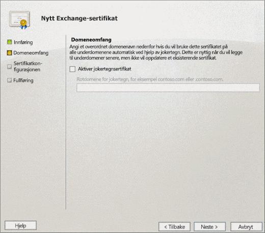 Domeneomfang-siden i veiviseren for nytt Exchange-sertifikat for Exchange 2010.