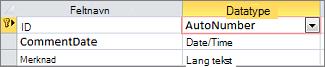 Autonummer-primærnøkkel med etiketten ID i utformingsvisning for tabeller i Access