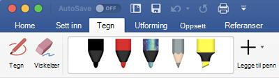 Penner og merke penner på tegn-fanen i Office 365 for Mac