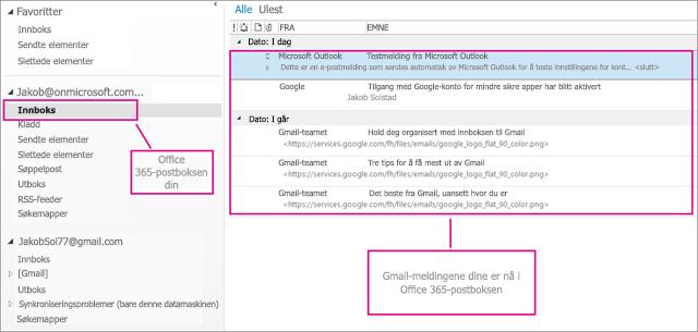 Når du importerer e-post til Office 365-postboksen, vises det på to steder.