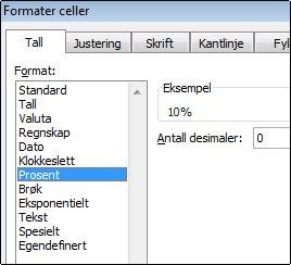Kategorien prosent i dialogboksen Formater celler