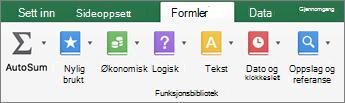 Klikk tekst i kategorien formler.