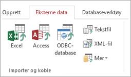 Eksterne data-fanen i Access