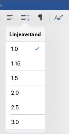 Viser linjen alternativer for linjeavstand i Word for iPad.