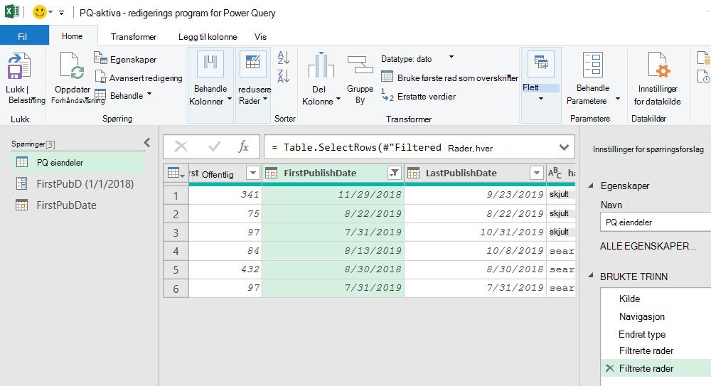 Power Query-redigering som viser filtrerte resultater