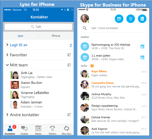 Side-ved-side-skjerm bilder av Lync og Skype for Business