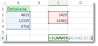 Bruke SUMMER med to tallområder