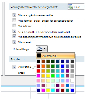 Fargeinnstillinger for støttelinjer i dialogboksen Alternativer for Excel