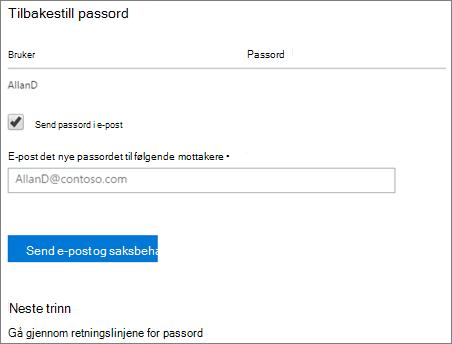 Skjermbilde: Send tilbakestille passord varsel e-post til brukeren
