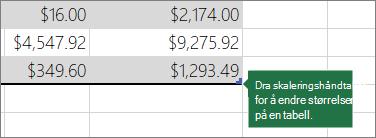 Dra skaleringshåndtaket for å endre størrelse på tabellen
