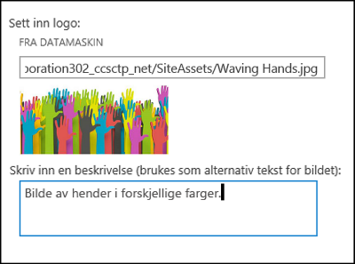 Dialogboksen for tittel og logo på nytt område i SharePoint Online viser hvordan du lager alternativ tekst for logobildet