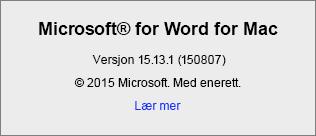 Skjermbilde som viser Om Word-siden på Word for Mac