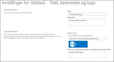 Nettsteds beskrivelse og nettsteds logo alttext i Project online