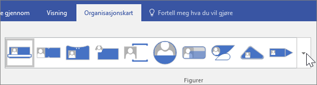 Skjermbilde av verktøylinjen for organisasjonskart
