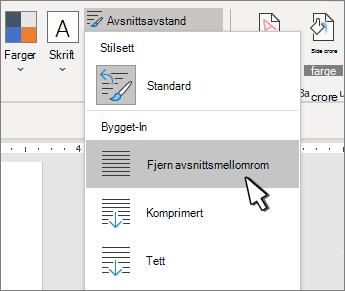 Angi enkel linje avstand i dokumentet