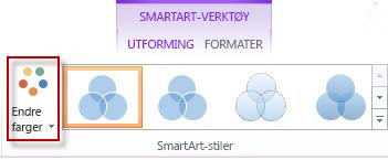 Endre farger-alternativet i gruppen SmartArt-stiler
